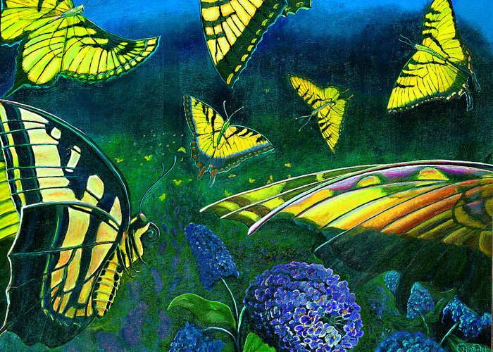 Butterfly Greeting Card featuring the painting Dance Of The Butterflies by Peter Bonk