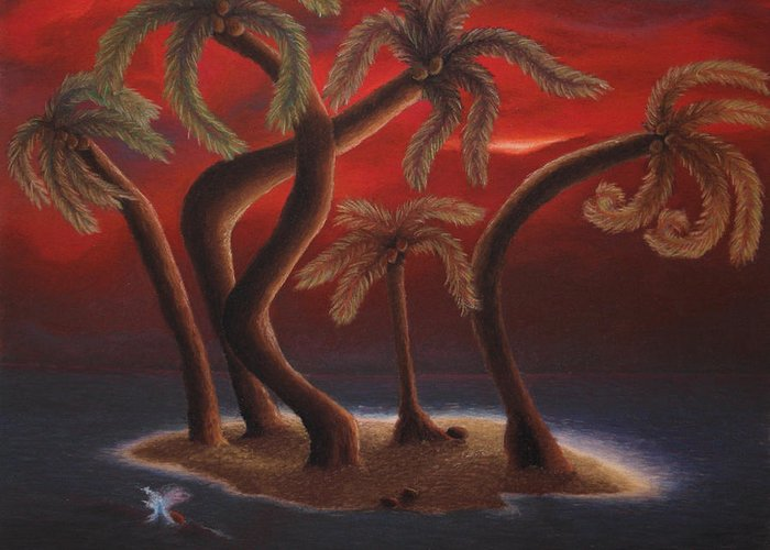 Palm Trees Greeting Card featuring the pastel Dance Of The Coconut Palms by Amanda Clark