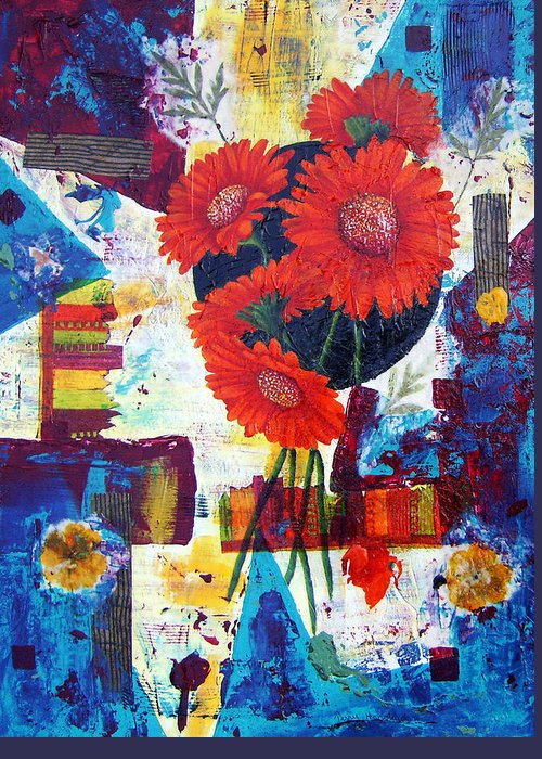 Daisy Flower Red Abstract Modern Collage Mixed Media Acrylic  Greeting Card featuring the painting Dance Of The Daisies by Terry Honstead