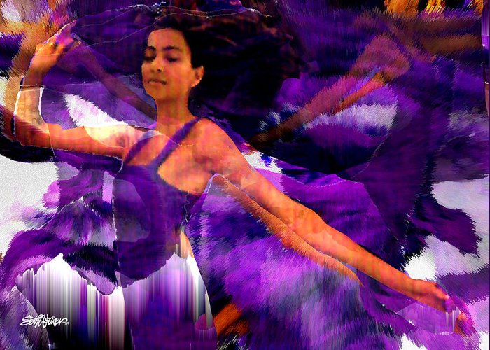 Mystical Greeting Card featuring the digital art Dance Of The Purple Veil by Seth Weaver