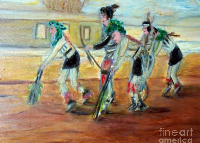 Dance Greeting Card featuring the painting Dance by Stanley Morganstein