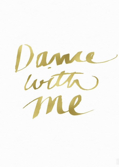 Dance Greeting Card featuring the painting Dance With Me Gold- Art By Linda Woods by Linda Woods