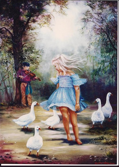 Children Greeting Card featuring the painting Dance With Me by Naomi Dixon