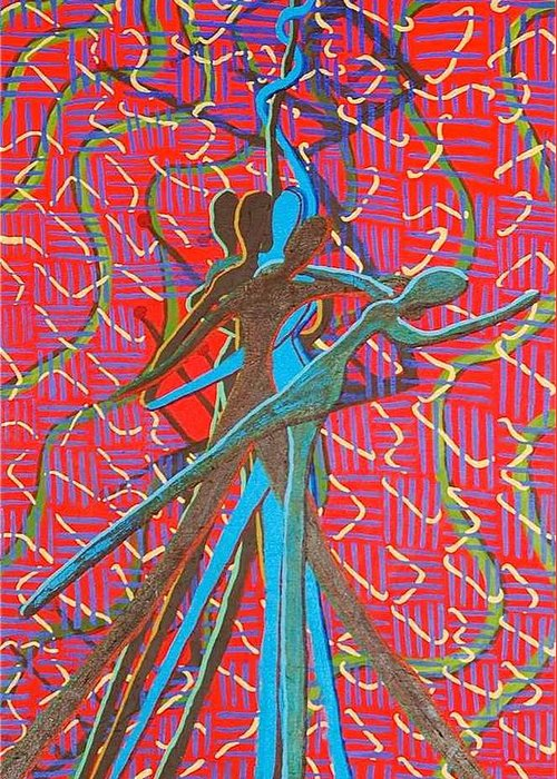 Figure Greeting Card featuring the painting Dance With Me by Rika Maja Duevel
