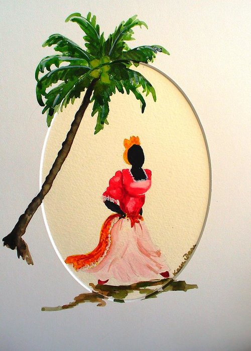 Caribbean Dancer Greeting Card featuring the painting Dancer 1 by Karin Dawn Kelshall- Best