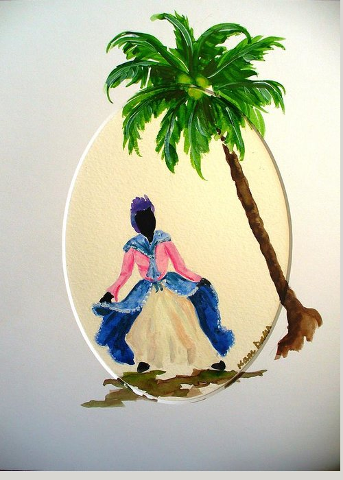 Dancer Caribbean Greeting Card featuring the painting Dancer 2 by Karin Dawn Kelshall- Best