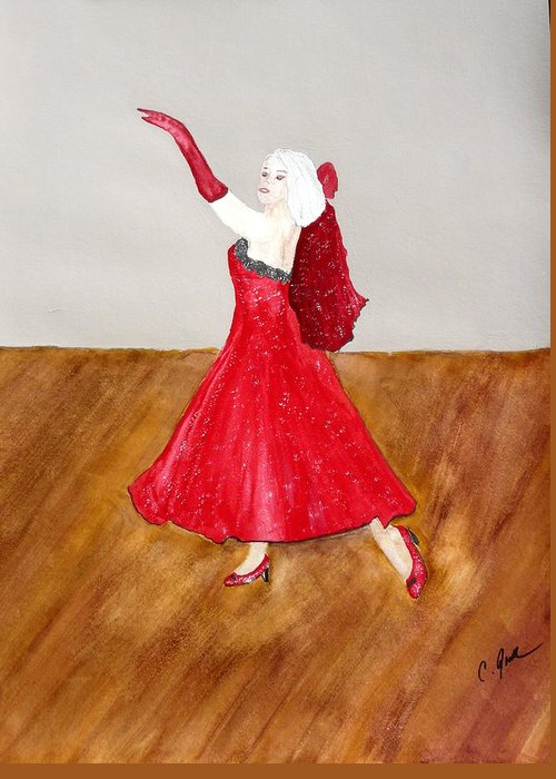 Woman Dancer Red Dress Gown Beautiful Gloves Shawl Wood Heels Blonde Lady Dance Ballroom Greeting Card featuring the painting Dancer by Cathy Jourdan