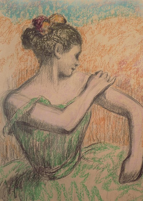 Dancer Greeting Card featuring the pastel Dancer by Degas