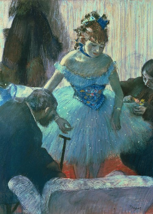Dancer In Her Dressing Room (pastel) By Edgar Degas (1834-1917) Greeting Card featuring the pastel Dancer In Her Dressing Room by Edgar Degas