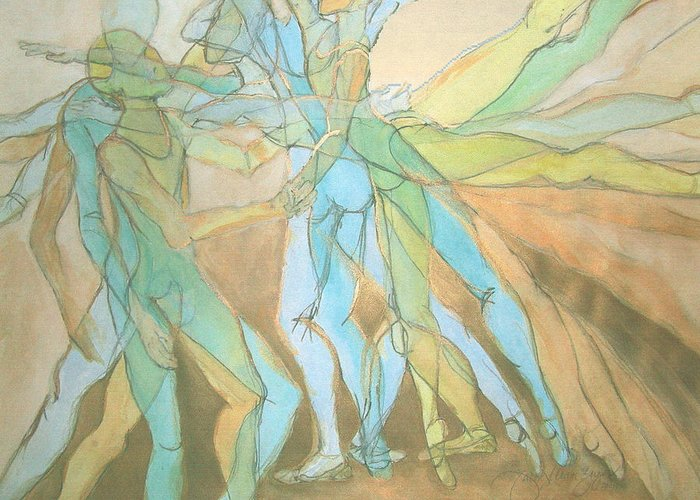 Dancers Greeting Card featuring the painting Dancers - 21 by Caron Sloan Zuger