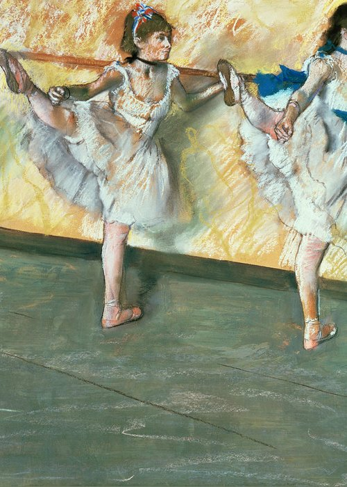 Danseuses A La Barre; Ballet; Impressionist; Stretching; Ballerina; Exercise; Warming Up; Step; Position; Dancer; Danseuse; Impressionism; Dancing; Tutu; Dance; Practice Greeting Card featuring the pastel Dancers At The Bar by Edgar Degas