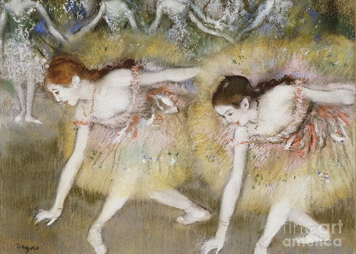 Dancers Bending Down (oil On Canvas) By Edgar Degas (1834-1917) Impressionism; Impressionist; Female; Dancer; Dancing; Dance; Ballet; Ballerina; Tutu; Degas Greeting Card featuring the painting Dancers Bending Down by Edgar Degas