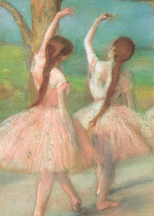 Dancers In Pink Greeting Card featuring the pastel Dancers In Pink by Edgar Degas