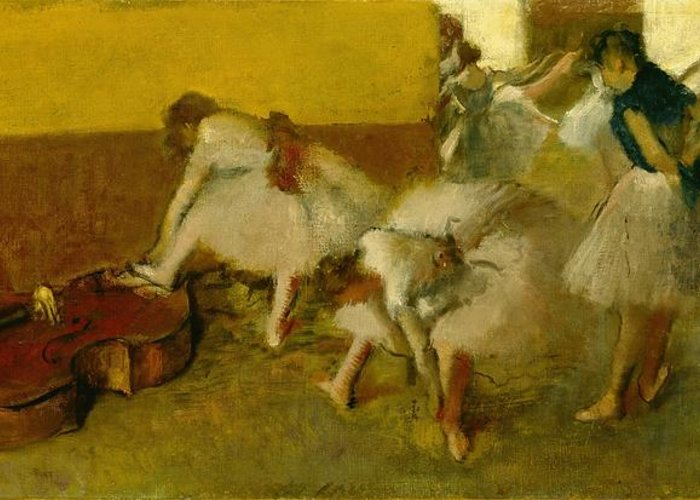 Dancers Greeting Card featuring the painting Dancers In The Green Room by Edgar Degas
