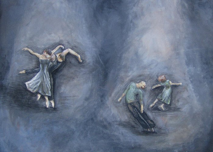 Dancing Greeting Card featuring the painting Dancers by Michelle Iglesias