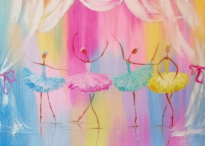 Dancers Greeting Card featuring the painting Dancers by Olha Darchuk