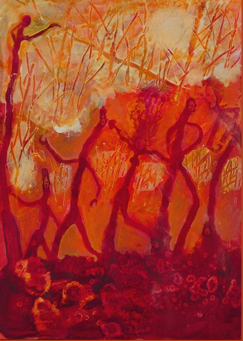 Red Greeting Card featuring the painting Dancers by Robert Bissett