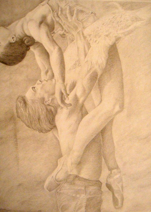 Dancers Greeting Card featuring the drawing Dancers by Sarabeth Kett