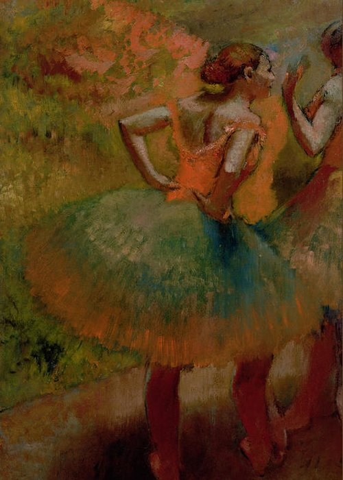 Dancers Wearing Green Skirts Greeting Cards