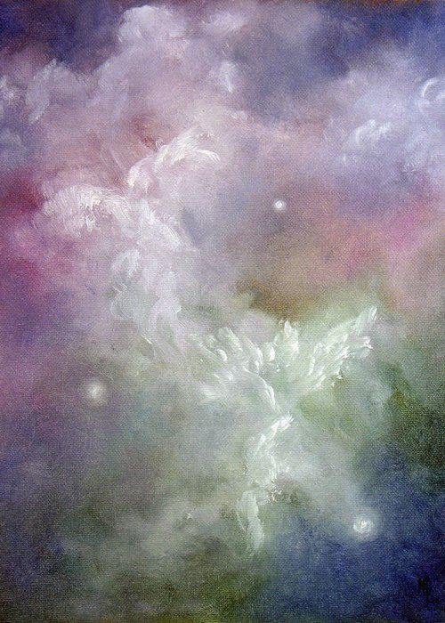 Angel Greeting Card featuring the painting Dancing Angels by Marina Petro