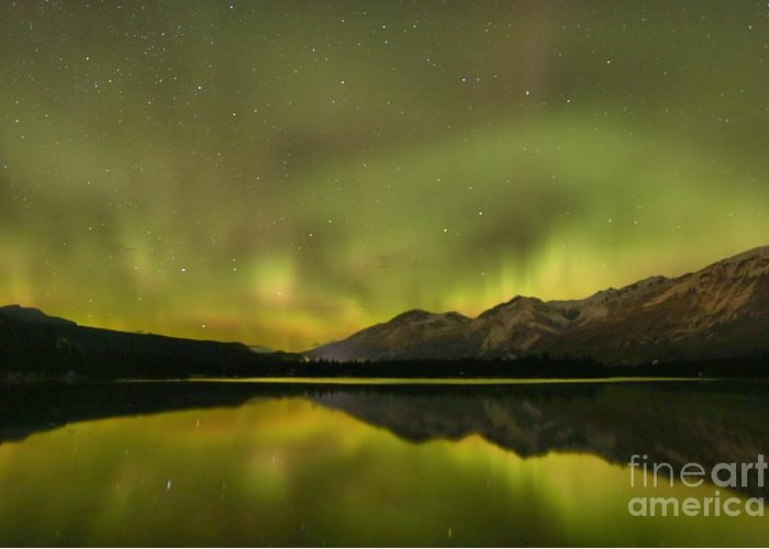 Canadian Northern Lights Greeting Card featuring the photograph Dancing Around The Mountains by Adam Jewell