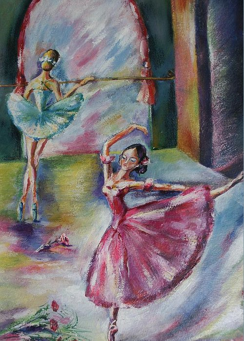 Ballerinas Greeting Card featuring the painting Dancing Ballerinas by Khatuna Buzzell