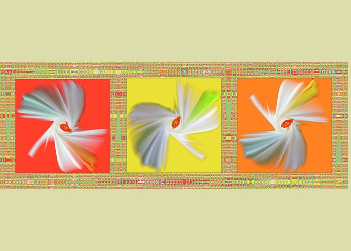 Abstract Greeting Card featuring the digital art Dancing Flower Trio by Ben and Raisa Gertsberg