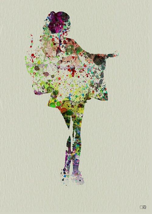 Kimono Greeting Card featuring the painting Dancing Geisha by Naxart Studio