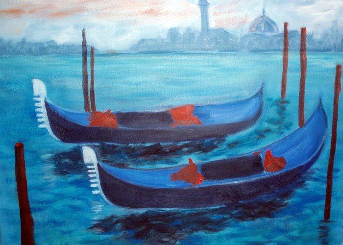 Venice Greeting Card featuring the painting Dancing Gondolas by Lia Marsman