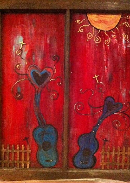 Window Pane Greeting Card featuring the mixed media Dancing Hearts by Tonia Sellers