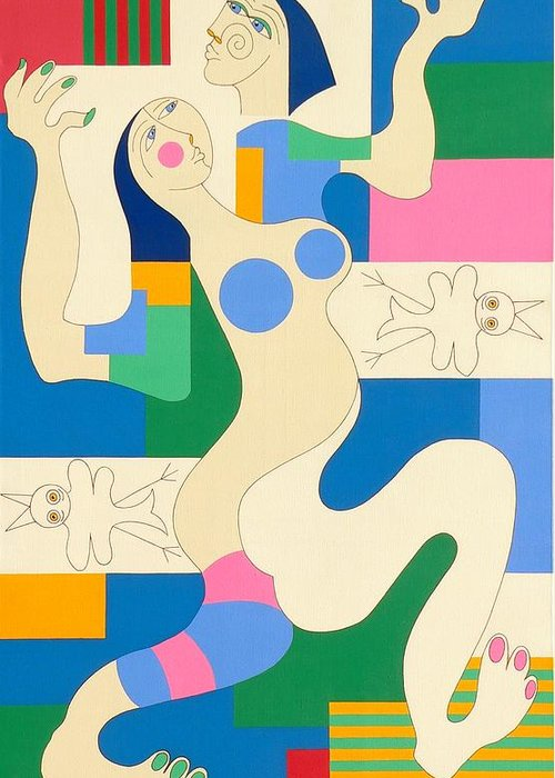 Modern Constructivisme People Birds Original Stylisme Greeting Card featuring the painting Dancing by Hildegarde Handsaeme