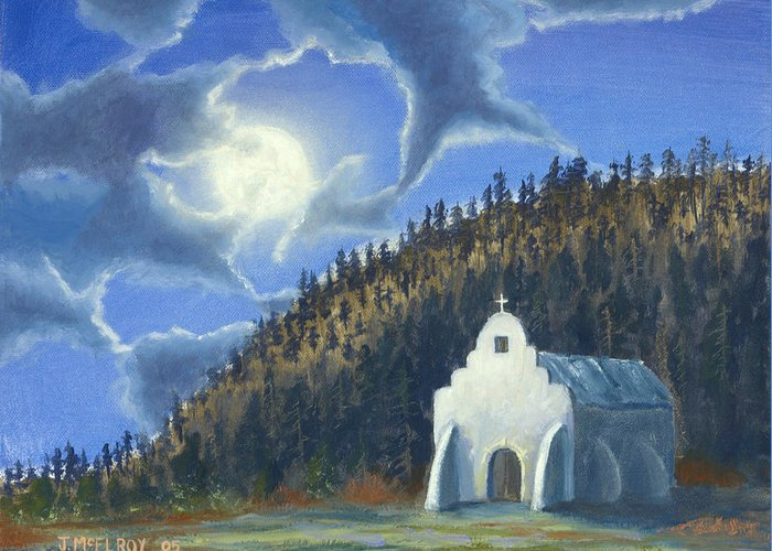 Landscape Greeting Card featuring the painting Dancing In The Moonlight by Jerry McElroy