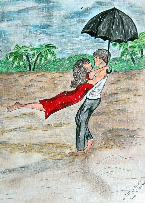 Dancing Greeting Card featuring the painting Dancing In The Rain On The Beach by Kathy Marrs Chandler