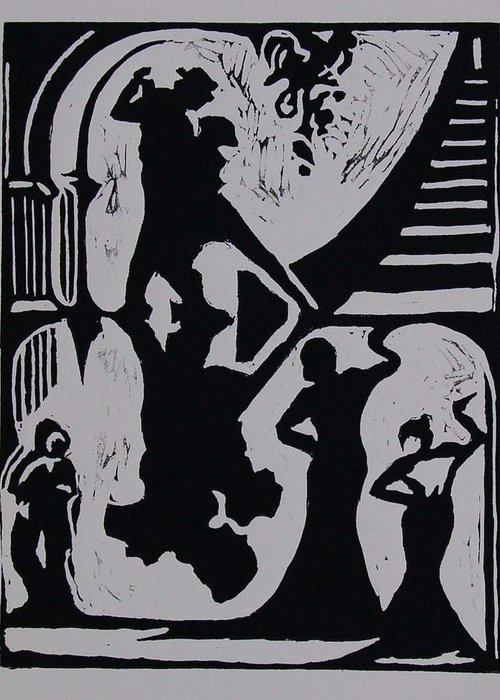 People Greeting Card featuring the print Dancing In The Shadows by DeLa Hayes Coward