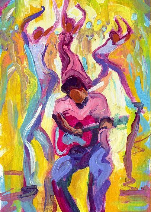 Dancing Greeting Card featuring the painting Dancing In The Streets by Saundra Bolen Samuel
