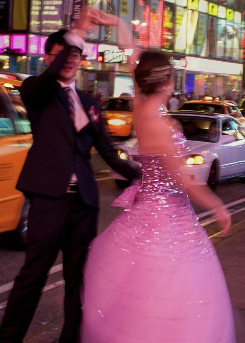 Dancers Greeting Card featuring the photograph Dancing In Times Square by Vijay Sharon Govender