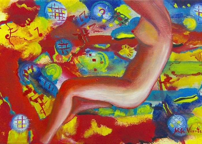 Surreal Woman Greeting Card featuring the painting Dancing by Nela Vicente