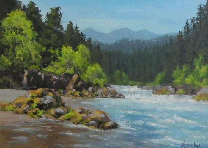 Original Greeting Card featuring the painting Dancing River by Karen Ilari