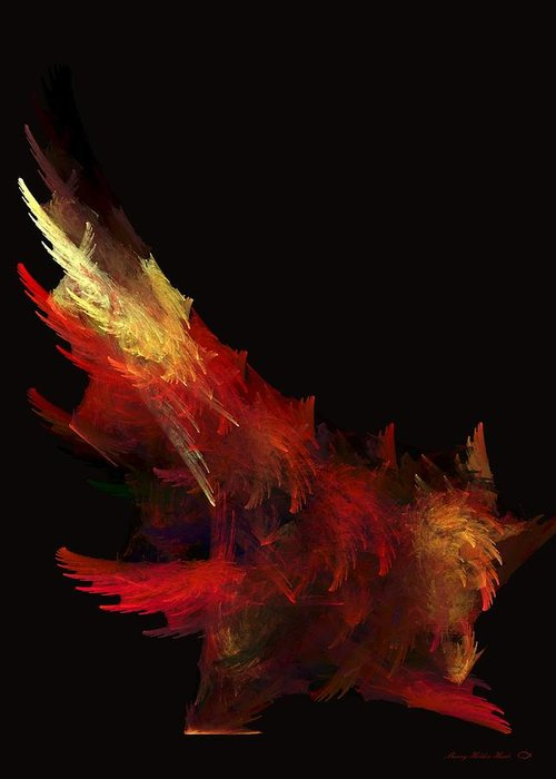Abstract Greeting Card featuring the painting Dancing Rooster by Sherry Holder Hunt