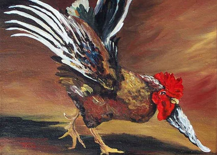 Chicken Greeting Card featuring the painting Dancing Rooster by Torrie Smiley