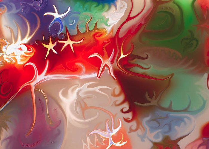 Blue Greeting Card featuring the painting Dancing Stars by Omaste Witkowski