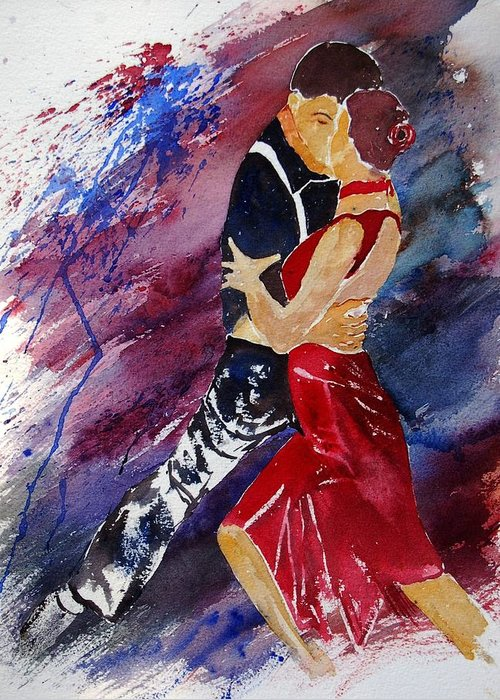 Tango Greeting Card featuring the painting Dancing Tango by Pol Ledent