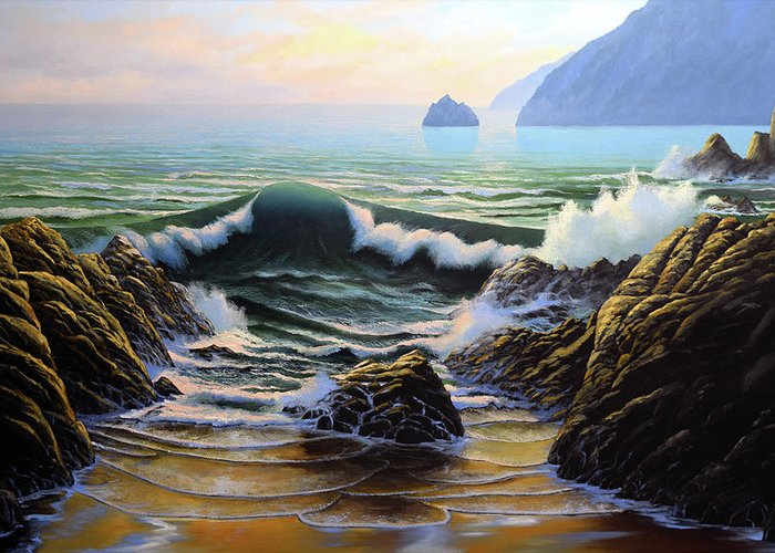 Dancing Tide Greeting Card featuring the painting Dancing Tide by Frank Wilson