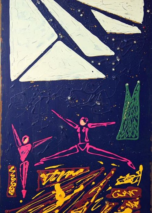 Dancers Greeting Card featuring the mixed media Dancing Under The Starry Skies by J R Seymour