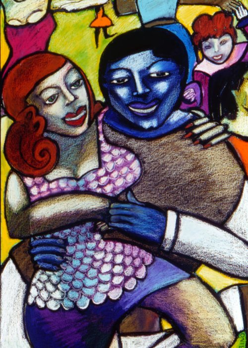 Figurative Greeting Card featuring the painting Dancing With A Blue Man by Angelina Marino