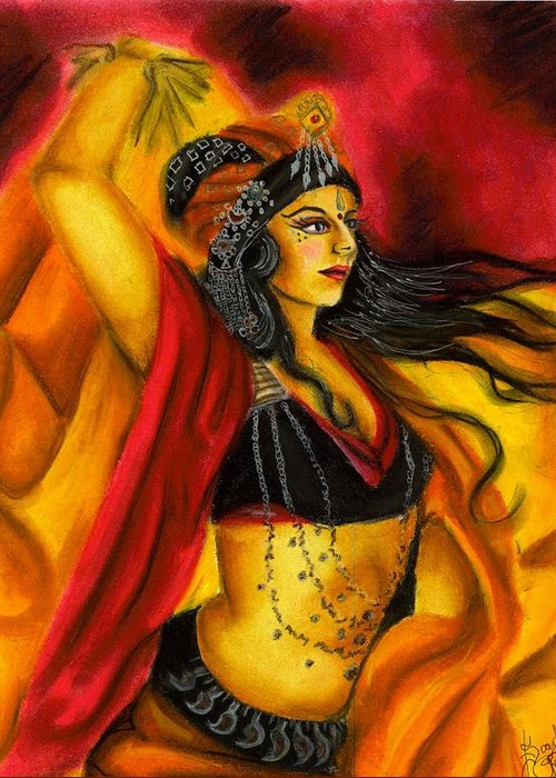 Belly Dancer Greeting Card featuring the drawing Dancing With Fire by Scarlett Royal