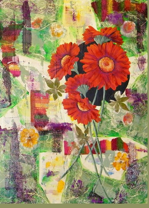 Abstract Greeting Card featuring the painting Dancing With The Daisies II by Terry Honstead