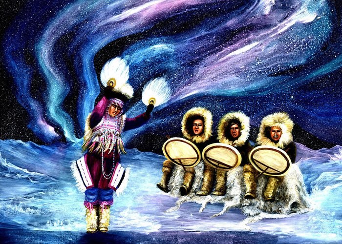 Alaska Greeting Card featuring the painting Dancing With The Spirits by Dianne Roberson