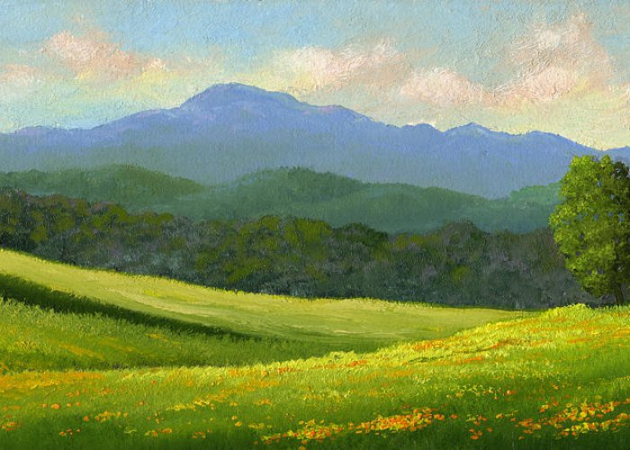 Landscape Greeting Card featuring the painting Dandelion Meadows by Frank Wilson
