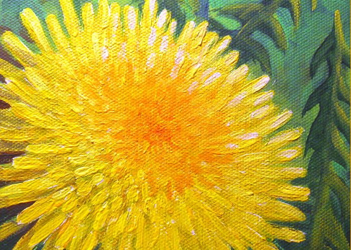 Dandelion Greeting Card featuring the painting Dandelion by Sharon Marcella Marston